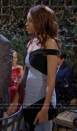 Nicole's blue colorblock off-shoulder dress on The Bold and the Beautiful