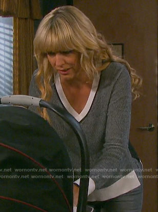 Nicole's grey v-neck sweater with white trim on Days of our Lives