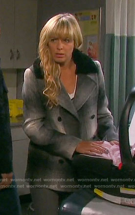 Nicole's plaid coat with black fur collar on Days of our Lives