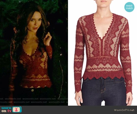 Nightcap Sierra Deep V-Neck Top worn by Nina Dobrev on The Vampire Diaries