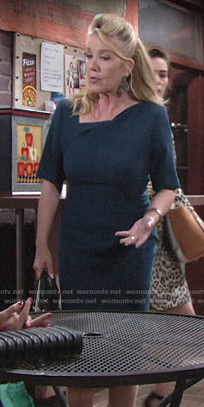 Nikki's teal asymmetric neck sheath dress on The Young and the Restless