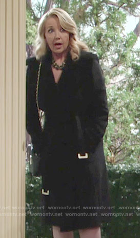 Nikki's black belted coat on The Young and the Restless