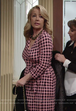 Nikki's black and pink printed wrap dress on The Young and the Restless