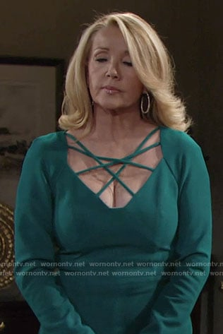 Nikki's teal green strappy front dress on The Young and the Restless