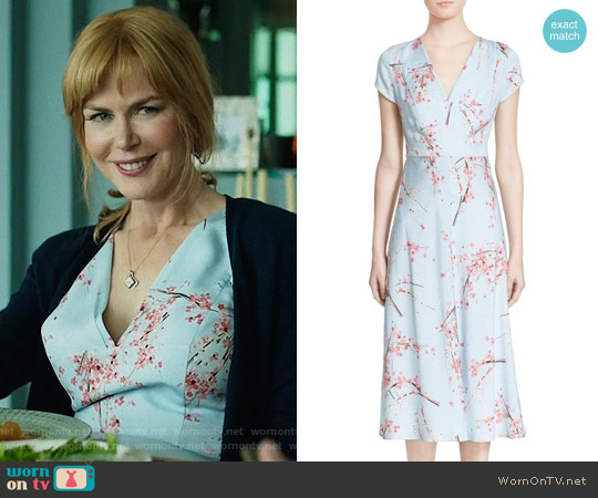 Nordstrom Signature + Caroline Issa Floral Print Silk Twill Midi Dress worn by Nicole Kidman on Big Little Lies