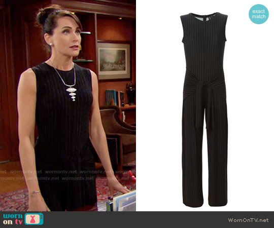 Norma Kamali Pinstripe Tie Jumpsuit worn by Rena Sofer on The Bold & the Beautiful