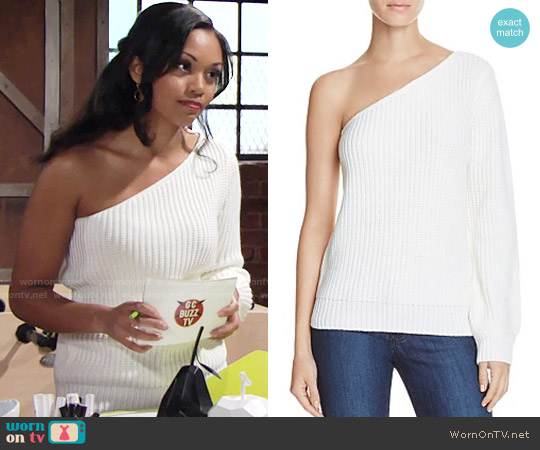 Olivaceous One Shoulder Sweater worn by Hilary Curtis (Mishael Morgan) on The Young & the Restless