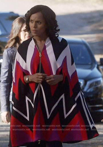 Olivia's chevron striped cape on Scandal