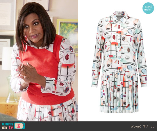 Opening Ceremony High Gloss Shirtdress worn by Mindy Lahiri (Mindy Kaling) on The Mindy Project
