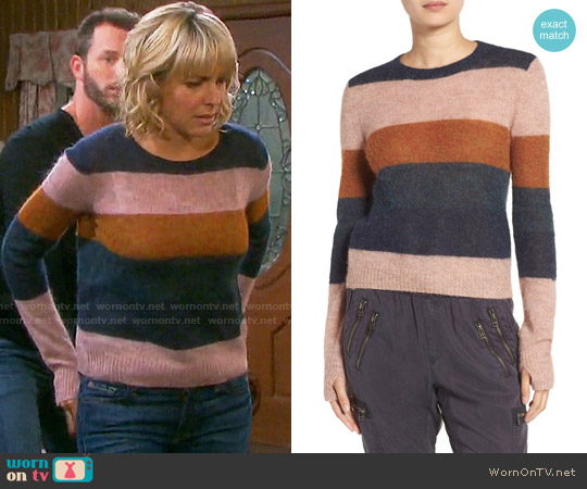 Pam & Gela Stripe Alpaca Blend Sweater worn by Arianne Zucker on Days of our Lives
