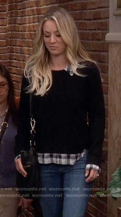 Penny's black sweater with plaid shirt on The Big Bang Theory