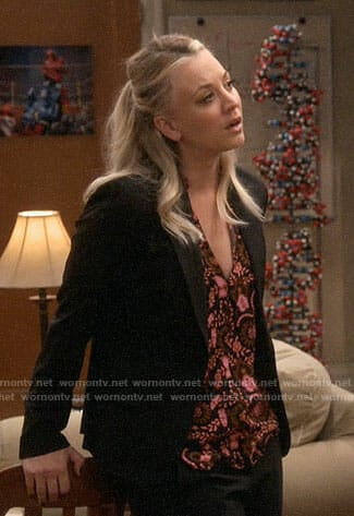 Penny's black and orange floral blouse on The Big Bang Theory