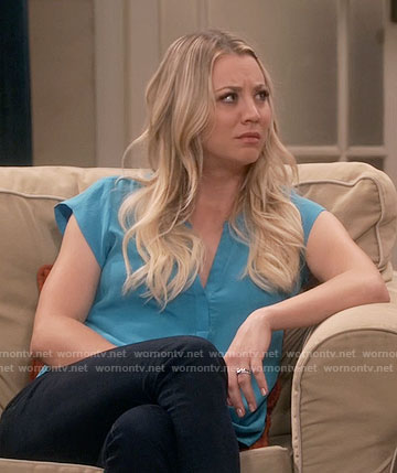 Penny's blue v-neck top on The Big Bang Theory