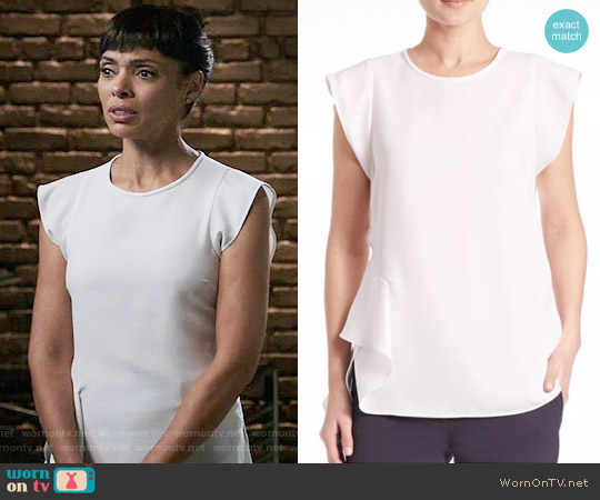 Peserico Cascade Side-Ruffled Blouse worn by Tamara Taylor on Bones