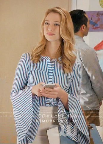 Petra's blue striped bell-sleeve top on Jane the Virgin