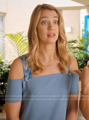 Petra's blue cold-shoulder top with beaded straps on Jane the Virgin
