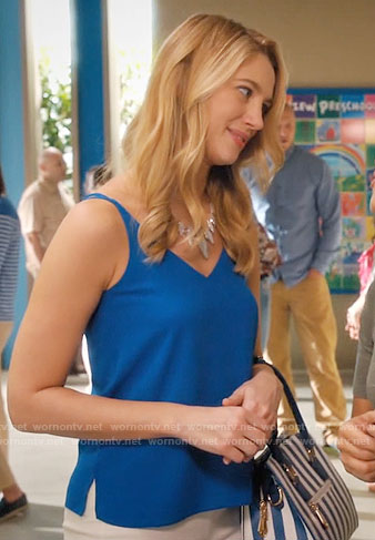 Petra's blue top and stone necklace on Jane the Virgin