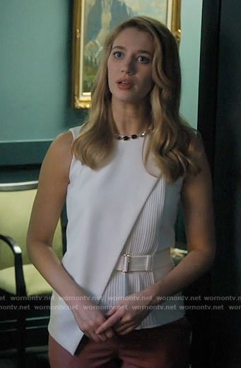 Petra's white pleated top on Jane the Virgin
