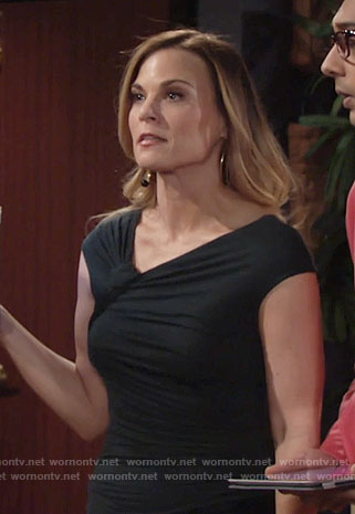 Phyllis's black asymmetrical neck dress on The Young and the Restless