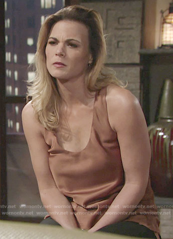 Phyllis's silk tank top with drawstring sides on The Young and the Restless
