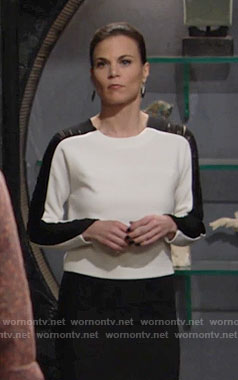 Phyllis's white top with black fringe sleeves on The Young and the Restless