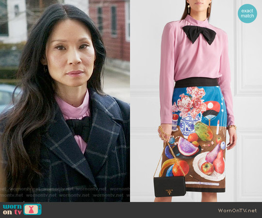 Prada Bow-embellished silk crepe de chine blouse worn by Joan Watson (Lucy Liu) on Elementary