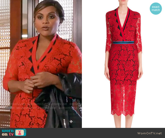 Preen Red Lace Dress worn by Mindy Kaling on The Mindy Project