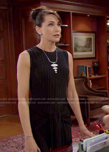 Quinn's pinstriped jumpsuit and necklace on The Young and the Restless