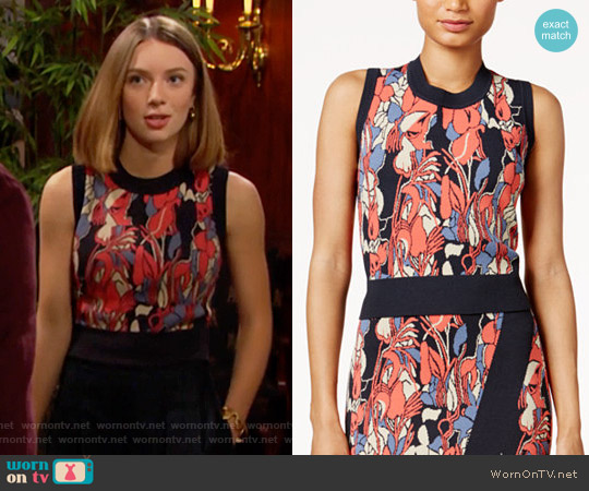 RACHEL Rachel Roy Printed Crop Top worn by Coco Spectra (Courtney Grosbeck) on The Bold & the Beautiful