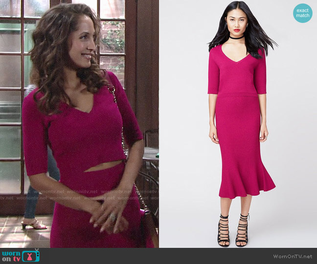 RACHEL Rachel Roy Vneck Crop Top and Midi Skirt worn by Christel Khalil on The Young & the Restless