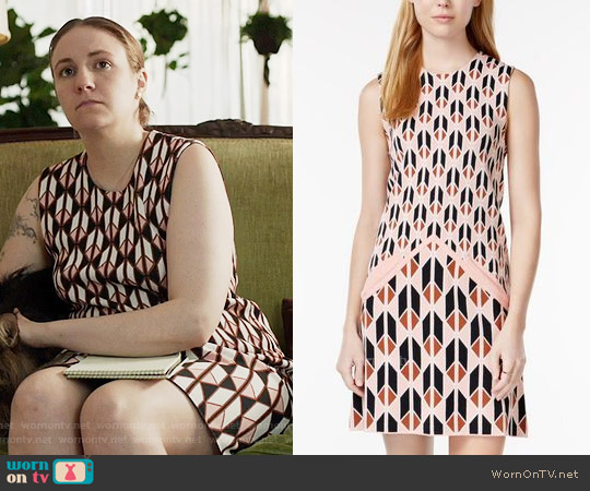 RACHEL Rachel Roy Sleeveless Printed Sweater Dress worn by Lena Dunham on Girls