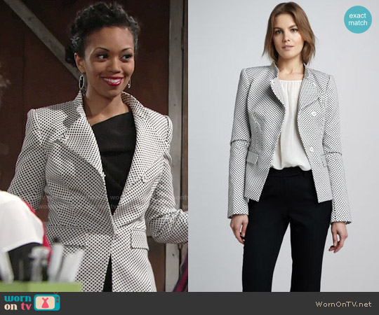 Rachel Zoe Carine Dot Blazer worn by Mishael Morgan on The Young & the Restless