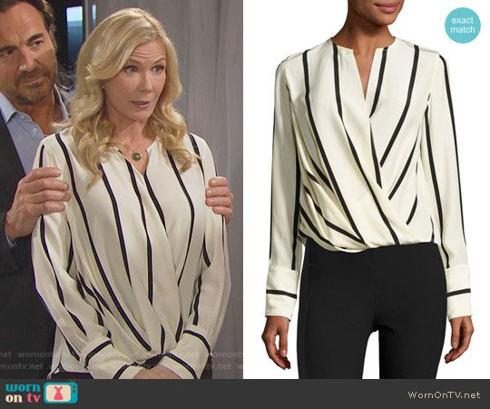 Rag & Bone Max Striped Blouse worn by Katherine Kelly Lang on The Bold & the Beautiful