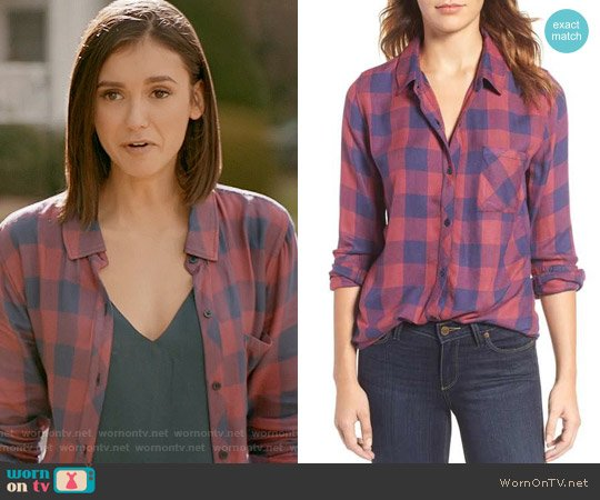 Rails Hunter Shirt in Rouge Dusk Check worn by Nina Dobrev on The Vampire Diaries