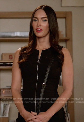 Reagan's black zip-front dress on New Girl