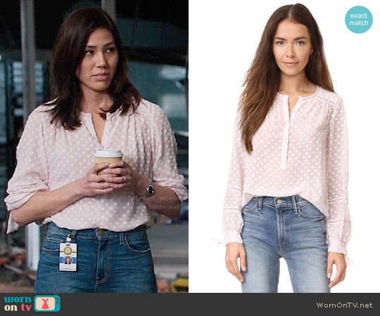 Rebecca Taylor Box Clip Blouse worn by Angela Montenegro (Michaela Conlin) on Bones