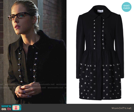 RED Valentino Grommets and Spheres Tech Wool Coat worn by Emily Bett Rickards on Arrow