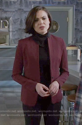 Regina's burgundy blazer with black collar on Once Upon a Time