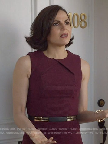 Regina's burgundy ribbed dress on Once Upon a Time