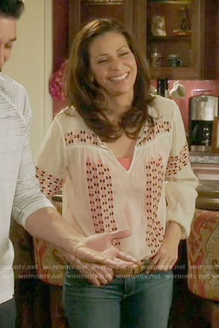 Regina's white embroidered top on Switched at Birth