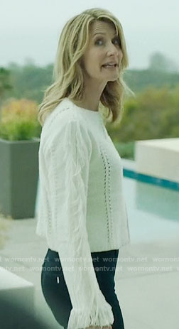 Renata's white fringed sweater on Big Little Lies