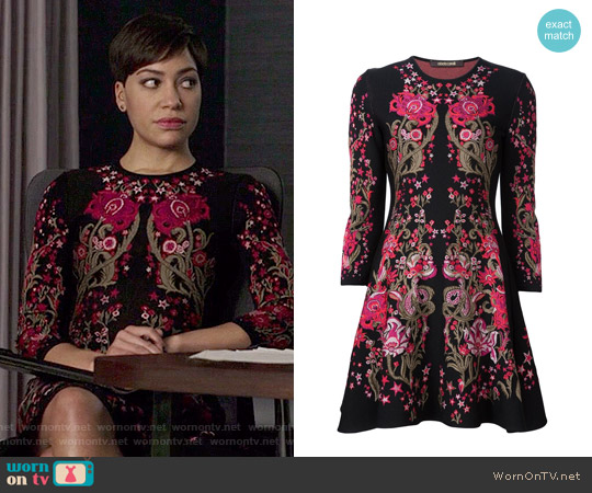 Roberto Cavalli Floral Design Knitted Dress worn by Cush Jumbo on The Good Fight