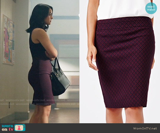 RW&CO. Modern Stretch Diamond Pattern Pencil Skirt worn by Camila Mendes on Riverdale