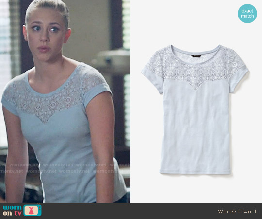 RW&CO. Short Sleeve Rib T-Shirt With Lace worn by Lili Reinhart on Riverdale