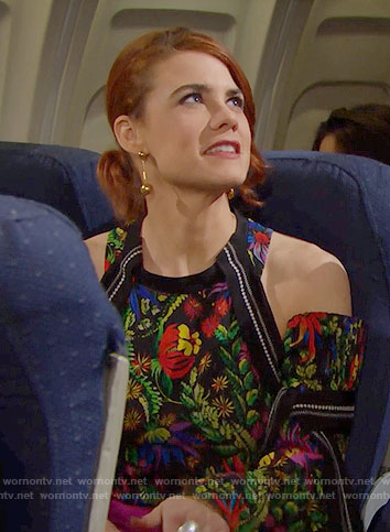 Sally's floral cold-shoulder top on The Bold and the Beautiful