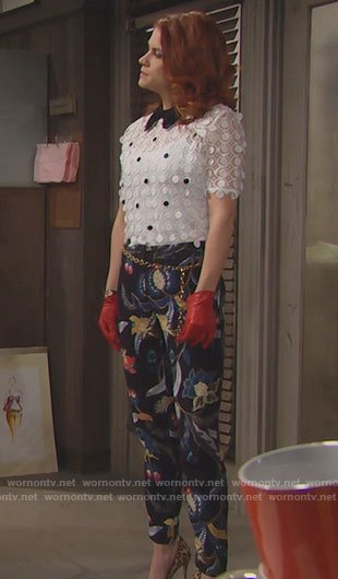 Sally's white lace top and floral trousers on The Bold and the Beautiful