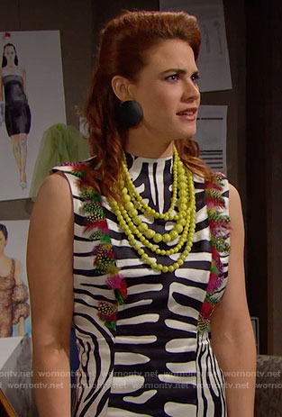 Sally's zebra print dress and yellow layered necklace on The Bold and the Beautiful