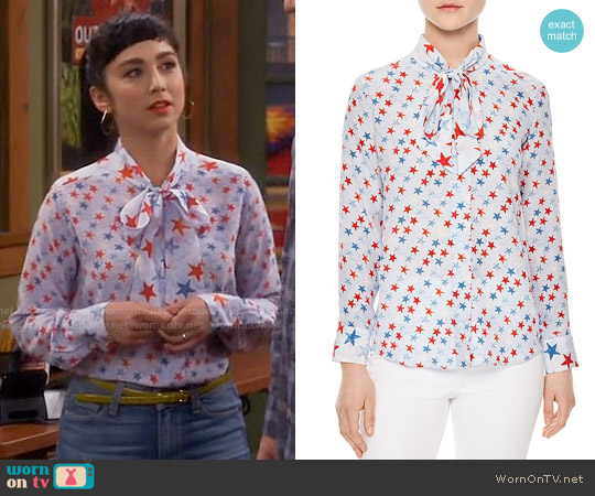 Sandro Space Tie-neck Silk Shirt worn by Mandy Baxter ( Molly Ephraim) on Last Man Standing