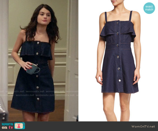 See by Chloe Sleeveless Stretch Denim Mini Dress worn by Sofia Black D'Elia on The Mick