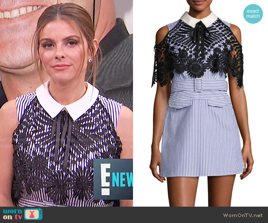 Self Portrait Striped Shirting Dress with Lace Cape worn by Maria Menounos  on E! News
